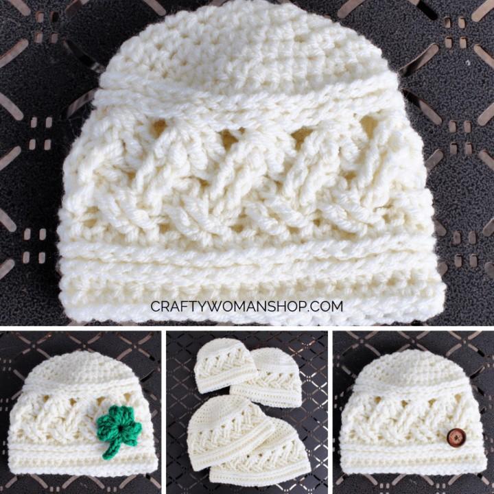 Celtic Weave Crochet Baby Hat