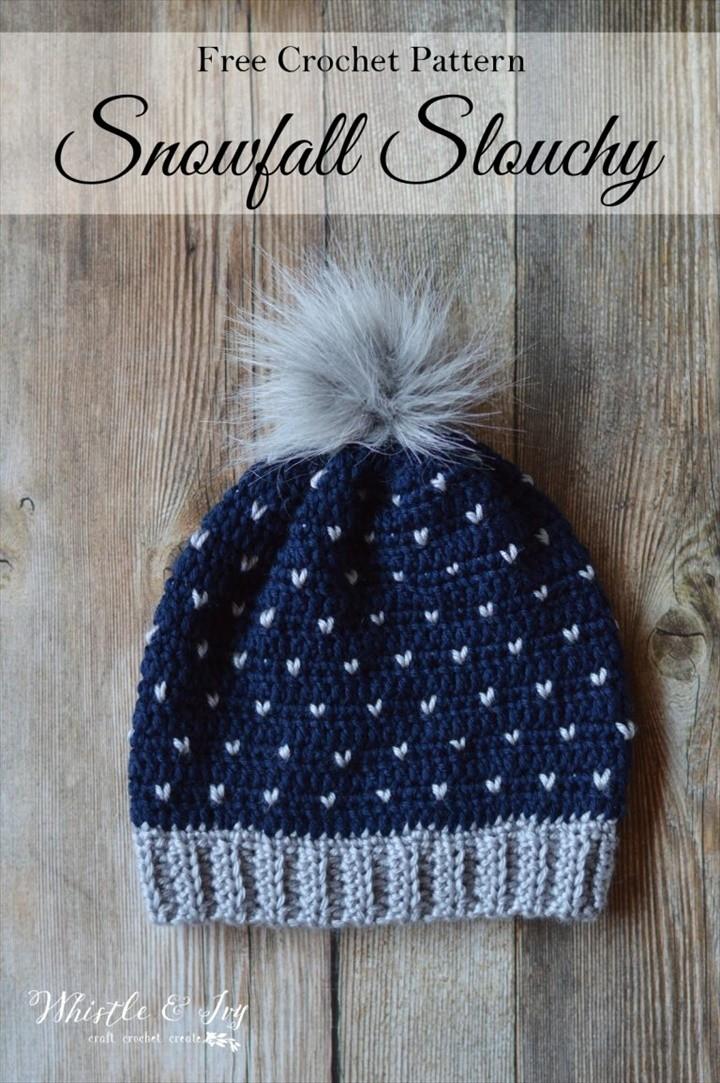 Crochet Heart Snowfall Slouchy Hat Pattern
