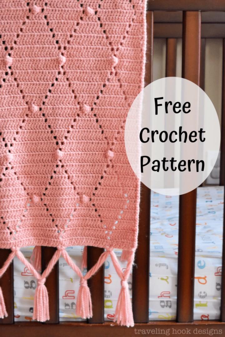 Diamonds Dots Baby Blanket Crochet Pattern