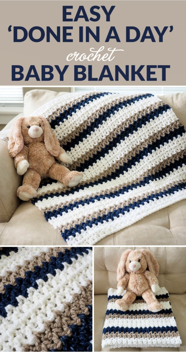 Easy 'Done In A Day' Crochet Baby Blanket