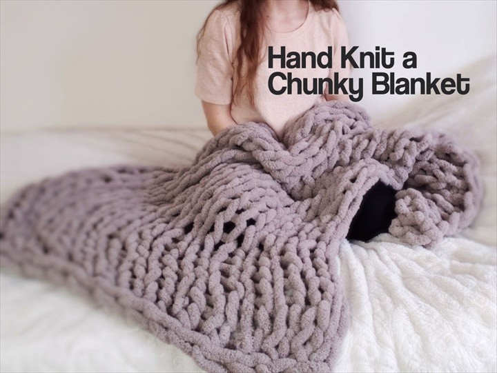 Easy Peasy Chunky Hand Knitted Blanket in One Hour