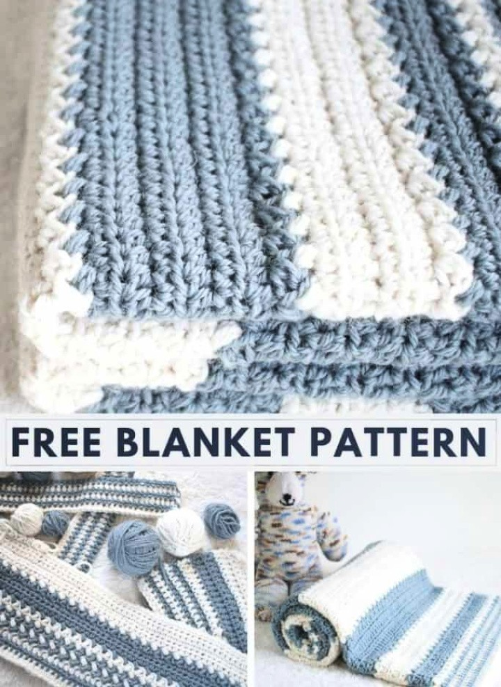 Easy Striped Baby Blanket Crochet Pattern