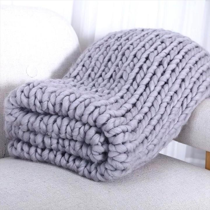 Hand Chunky Wool Knitted Blanket Thick Yarn Merino Bulky Knitting Throw Blankets