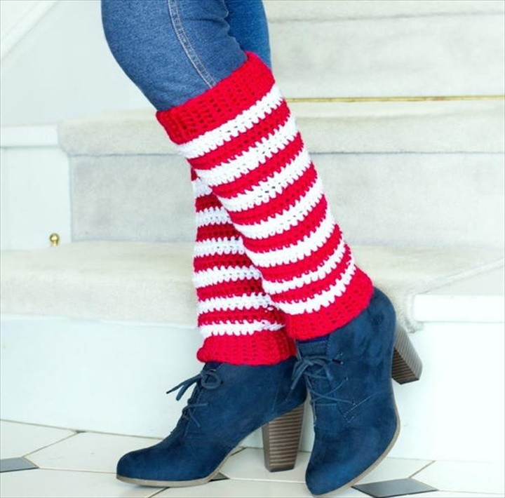 How To Make Red And White Stripe Crochet Candy Cane Leg Warmers