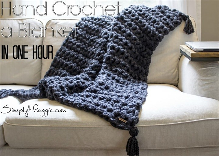How to Hand Crochet Blanket in One Hour