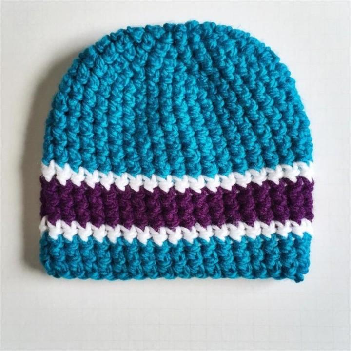 Triple Stripe Crochet Beanie Pattern for Men Tutorial