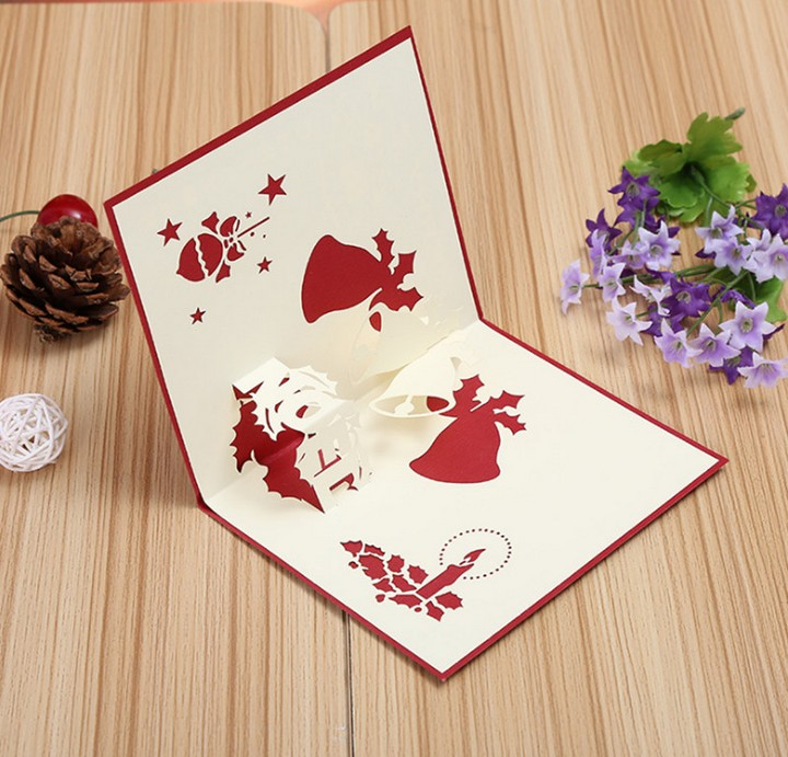 3D Pop Up Greeting Card Table Merry Christmas Post Card Gift Craft Paper DIY