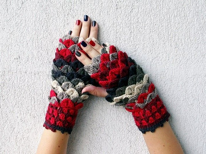Beautiful Dragon Mermeid Fingerless Glove Pattern