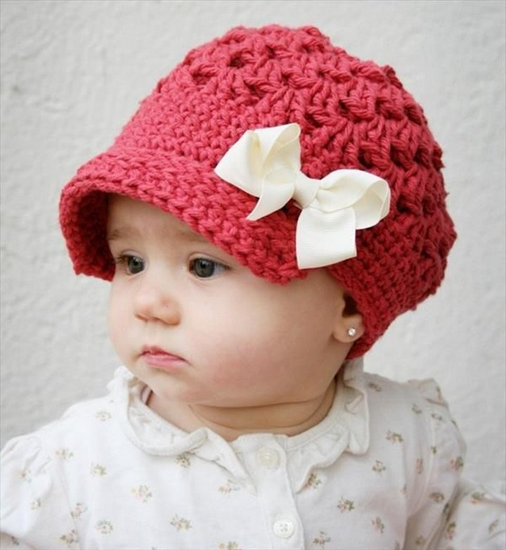 Beautiful New Chic Baby Girl Winter Crochet Hat With Ribbon Bow