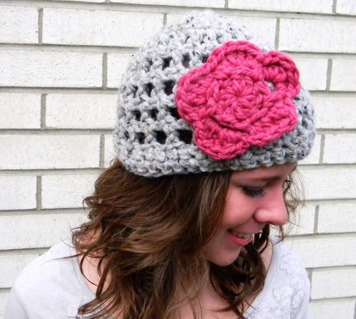 Best AdultCrochet Hat Pattern With Flower For Stylish Girls