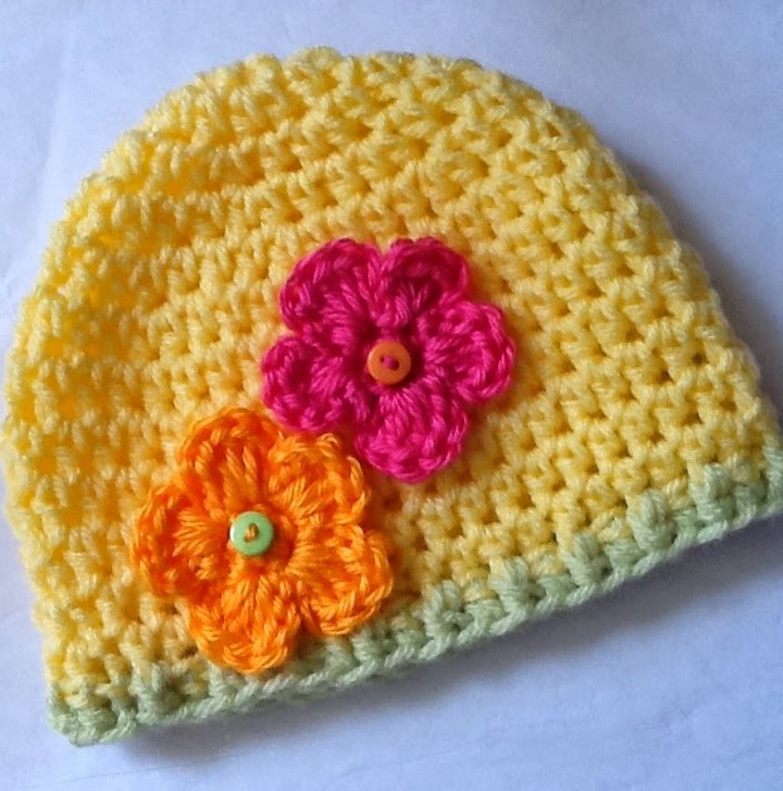Best Baby Cottage Hat Pattern With Orange Pink Flowers
