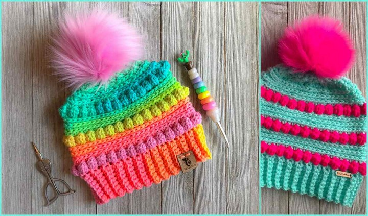 Bubblegum Pom Pom Beanie Crochet Hat Pattern For KIDS