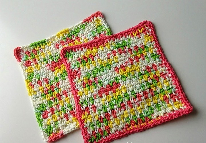 Colorful Moss Stitch Dishcloth Pattern
