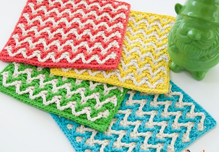 Crochet Bright Chevron Dishcloth