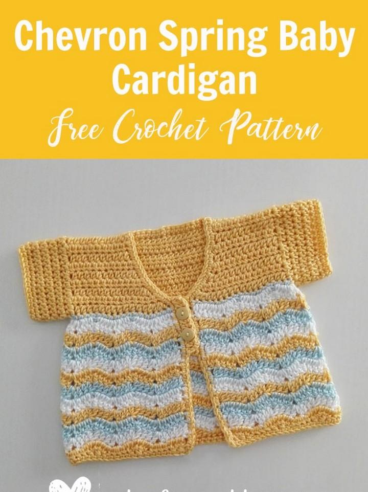 Crochet Chevron Spring Baby Cardigan Free Pattern