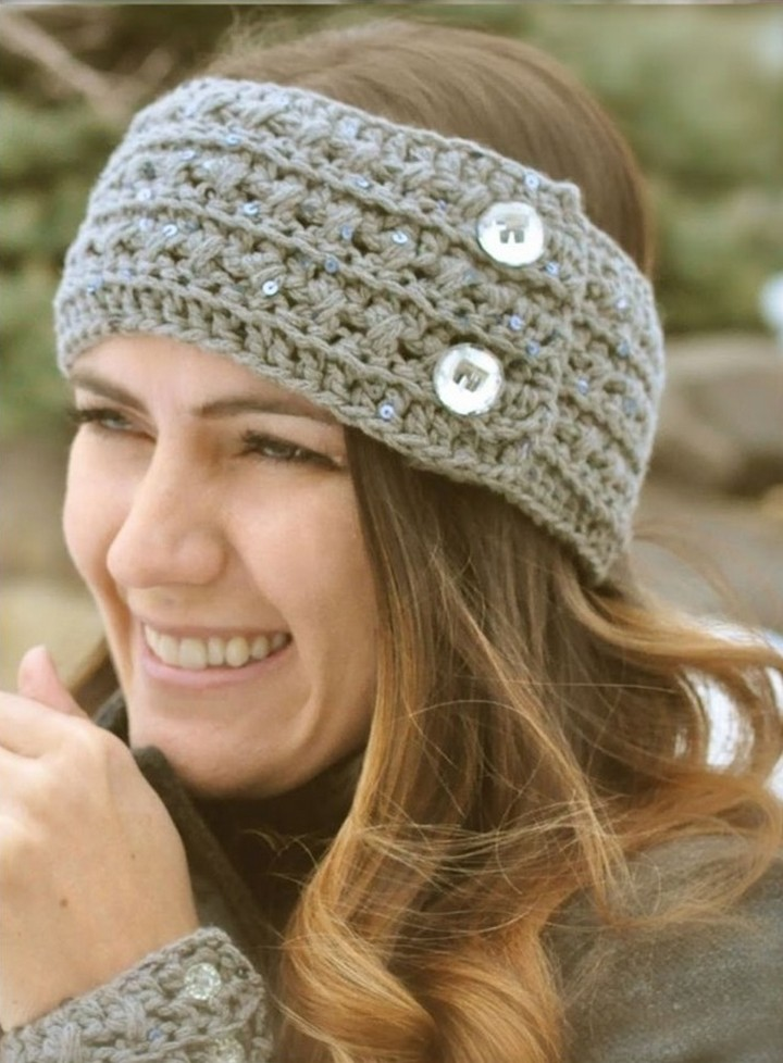 Crochet Knitting Headband Pattern With Two Buttons