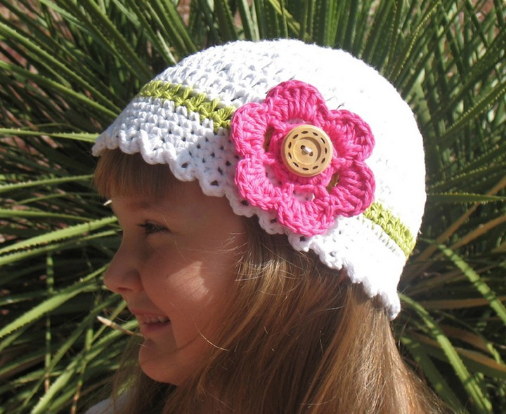 Crochet Sun Girls Hat With Deatacheable Flower