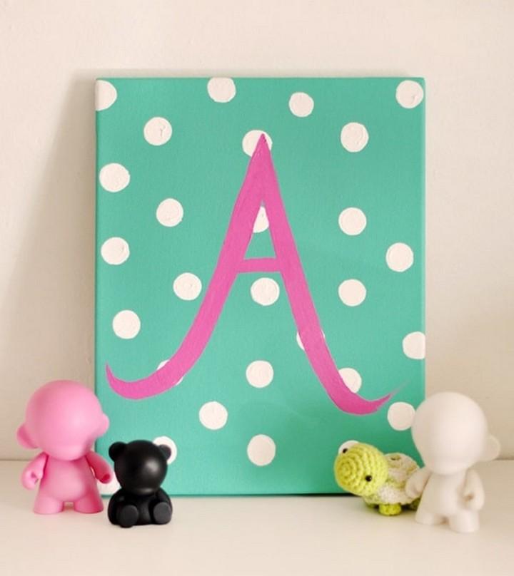 DIY Alphabet A Pinting Idea For Home Decor