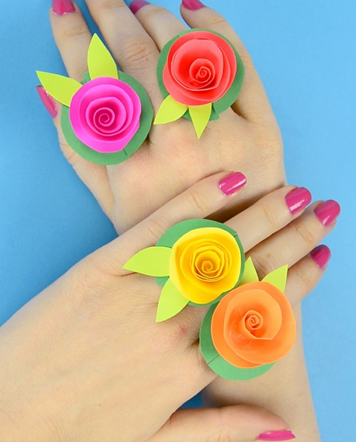 DIY Amazing Colorful Flower Paper Rings