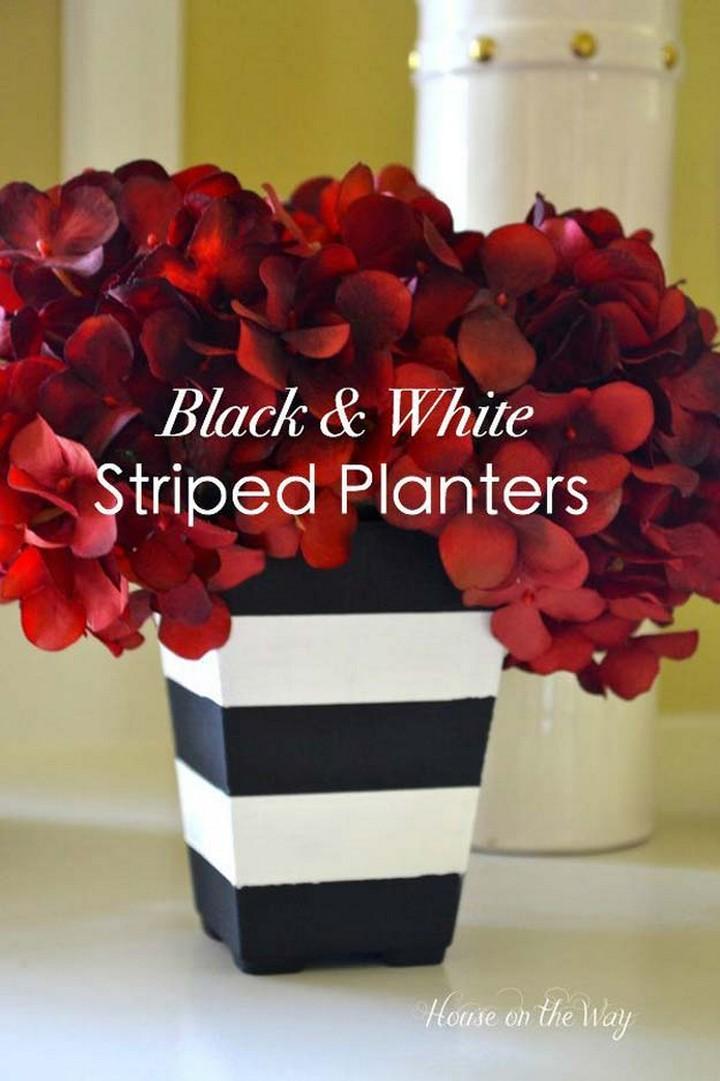 DIY Black and White Stripe Planters