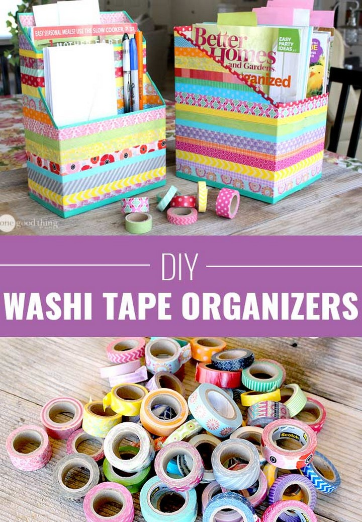 DIY Cool Washi Tape Cereal Box Organizers