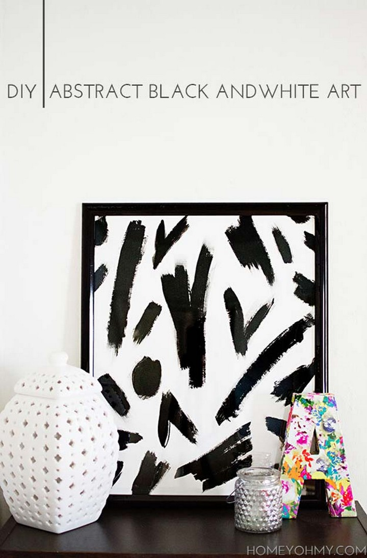 DIY Cute Abstract Black and White Art For Room Decor