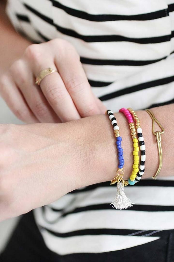 DIY Cute Beaded Tassel Bracelet