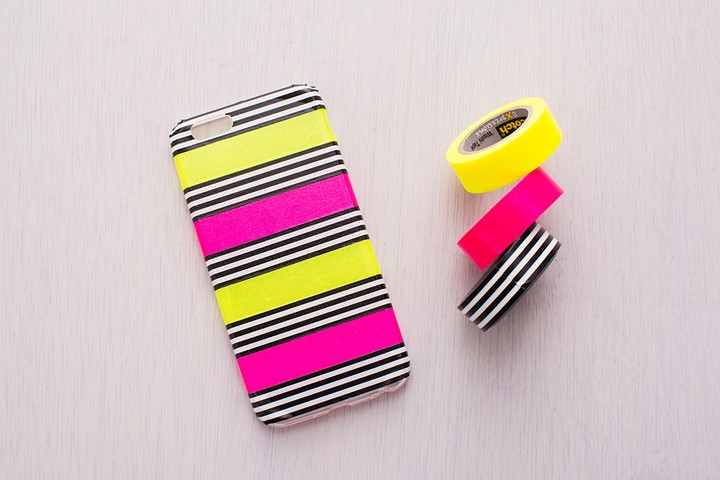 DIY Easy To Make Phone Case With Tape Stripse