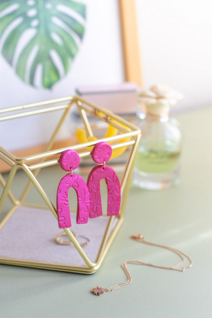 DIY Embossed Earrings with Clay Make Great Gifts