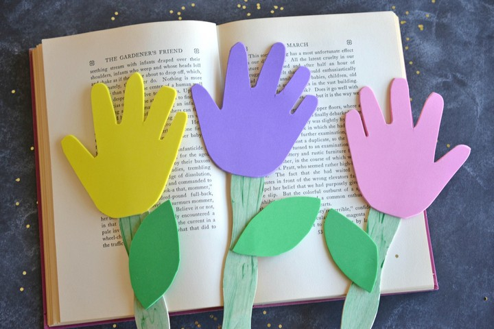 DIY Foam Hand Print Flowers With Popsicale Stick Ideas