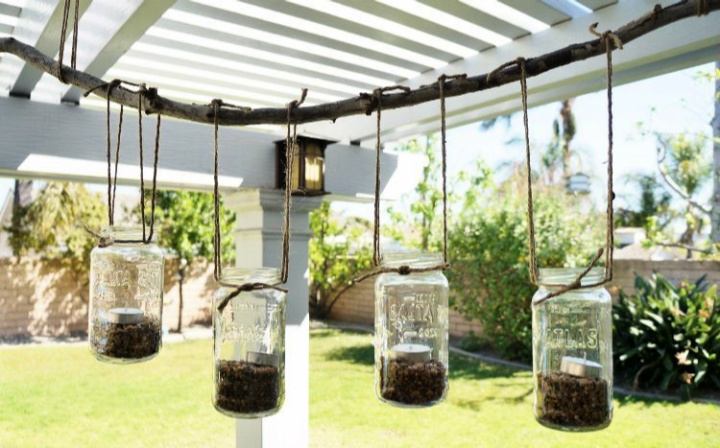 DIY Meson Jar For Outdoor With Tea Lights Flower