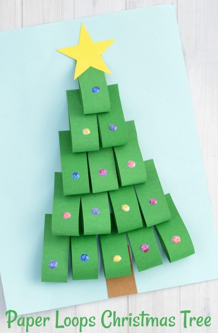 DIY Paper Loops Christmas Tree Craft for Kids