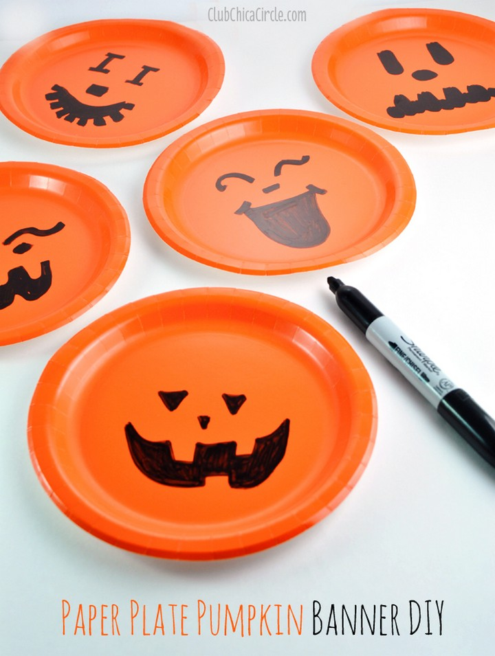 DIY Paper Plate Pumpkin Easy Party Banner Tutorial