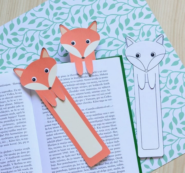 DIY Paper Printable Fox Bookmarks Tutorial