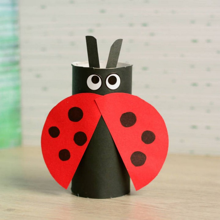 DIY Paper Tube Ladybug Kids Craft