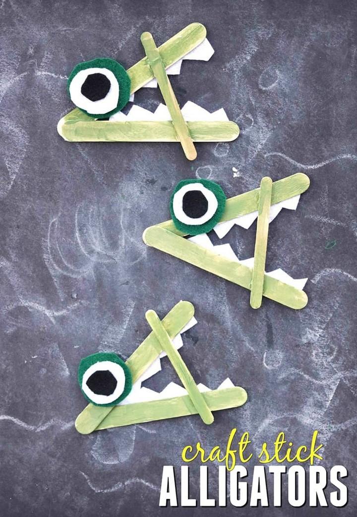 DIY Popsicle Stick Alligator Kid Craft