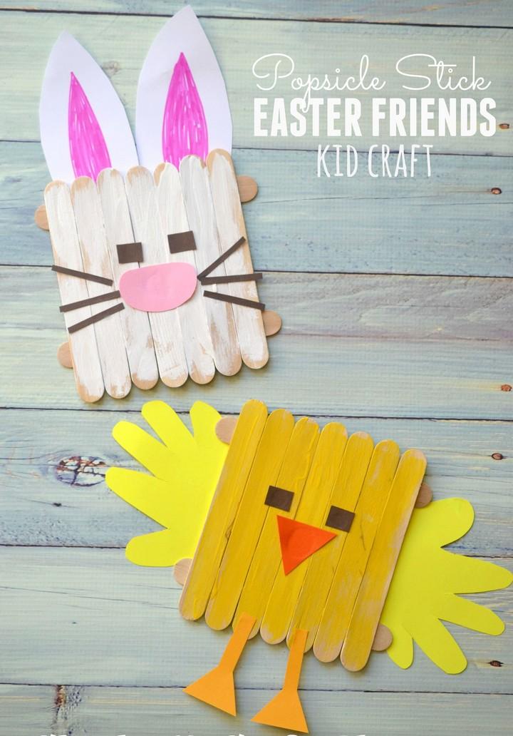DIY Popsicle Stick Easter Friends Kid Craft