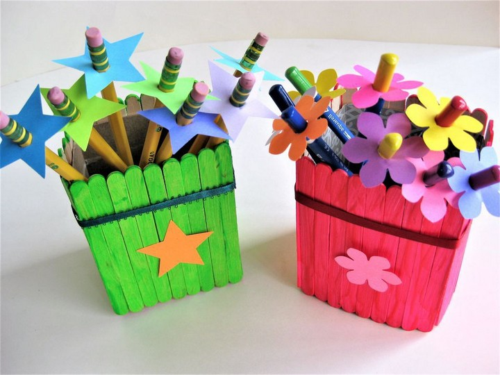 DIY Popsicle Stick Pencil Holder