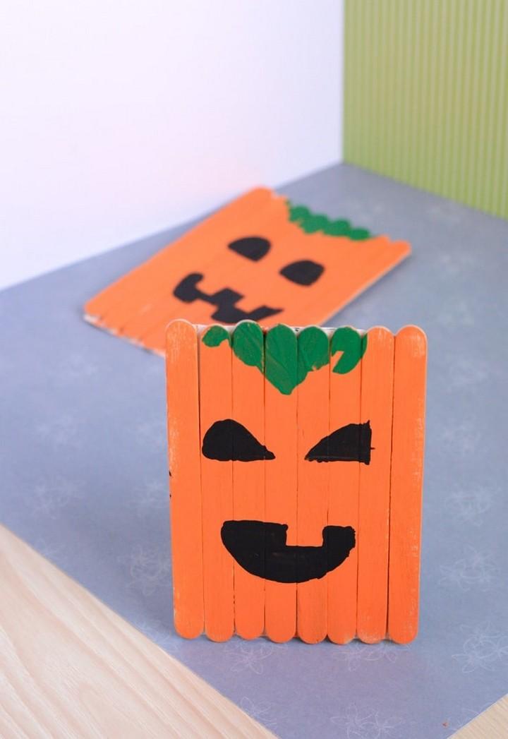 DIY Popsicle Stick Pumpkin Craft for Kids