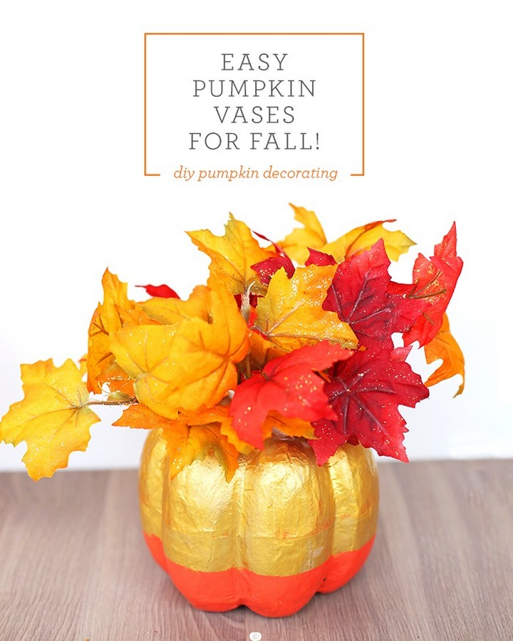 DIY Pumpkin Flower Vase For Centrepiece