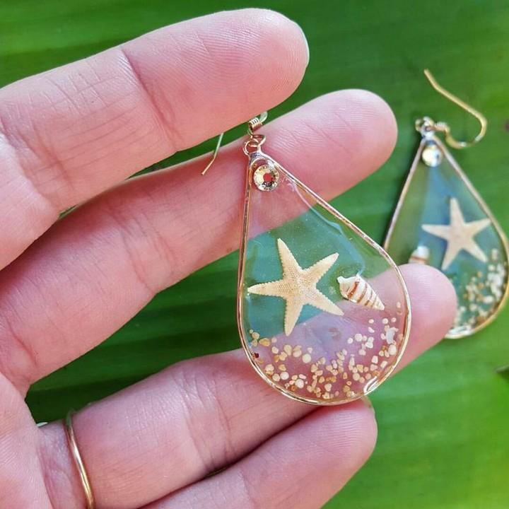 DIY Resin Seashell Earrings Idea