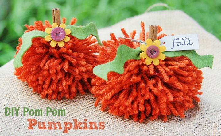 DIY Yarn Pom Pom Pumpkin Craft For Kids
