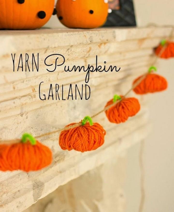DIY Yarn Pumpkin Garland For Home Decoration
