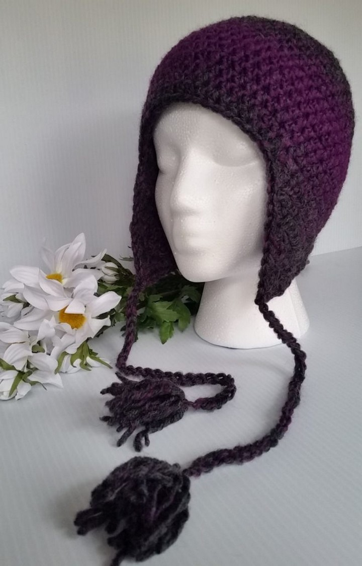 Ear Flap Crochet Hat In Dark Purple Color