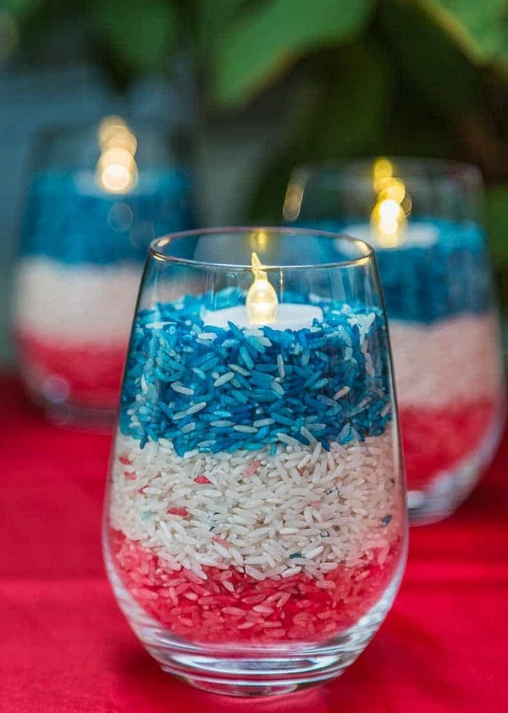 Easy DIY Red Blue White Candle Holders