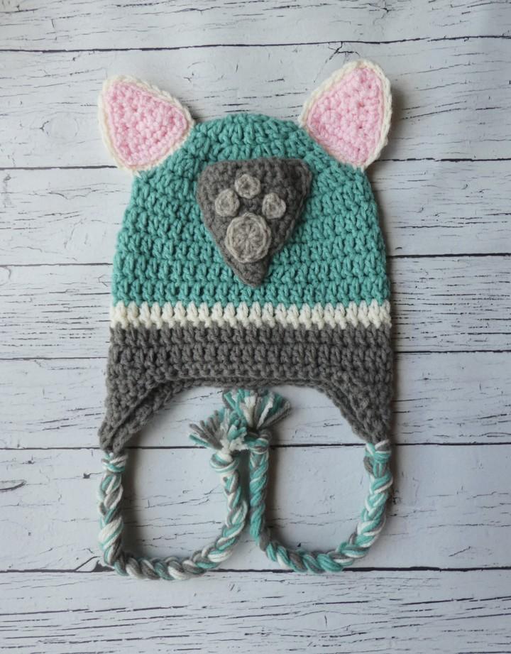Everest Paw Patrol Crochet Hat Mitten Set