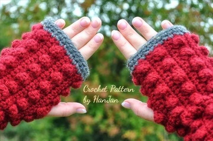 Fingerless Bobble Crochet Gloves