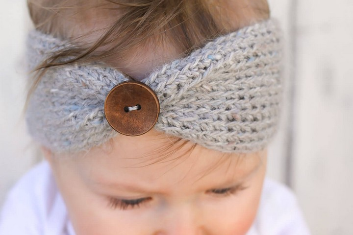 Free Knitting Crochet Baby Headband With Button