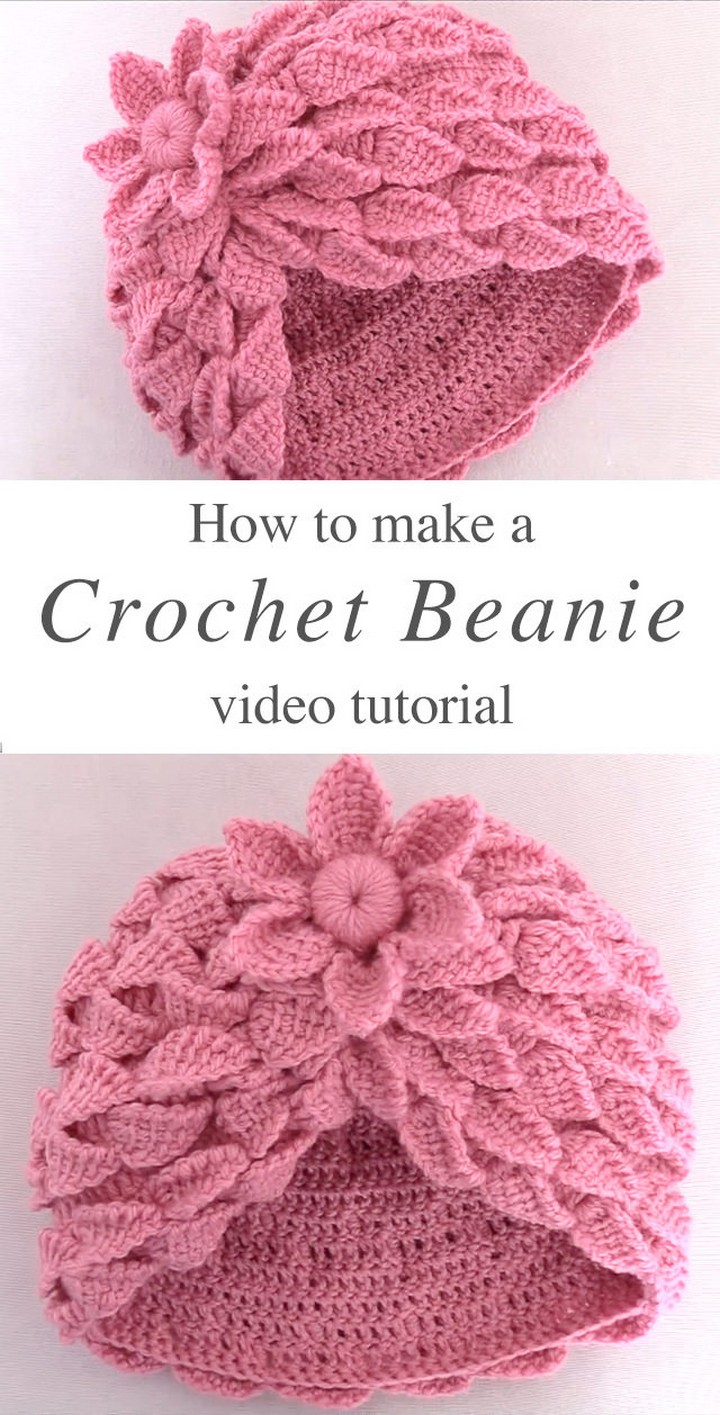 How To Crochet Beanie With 3D Leaf Stitch