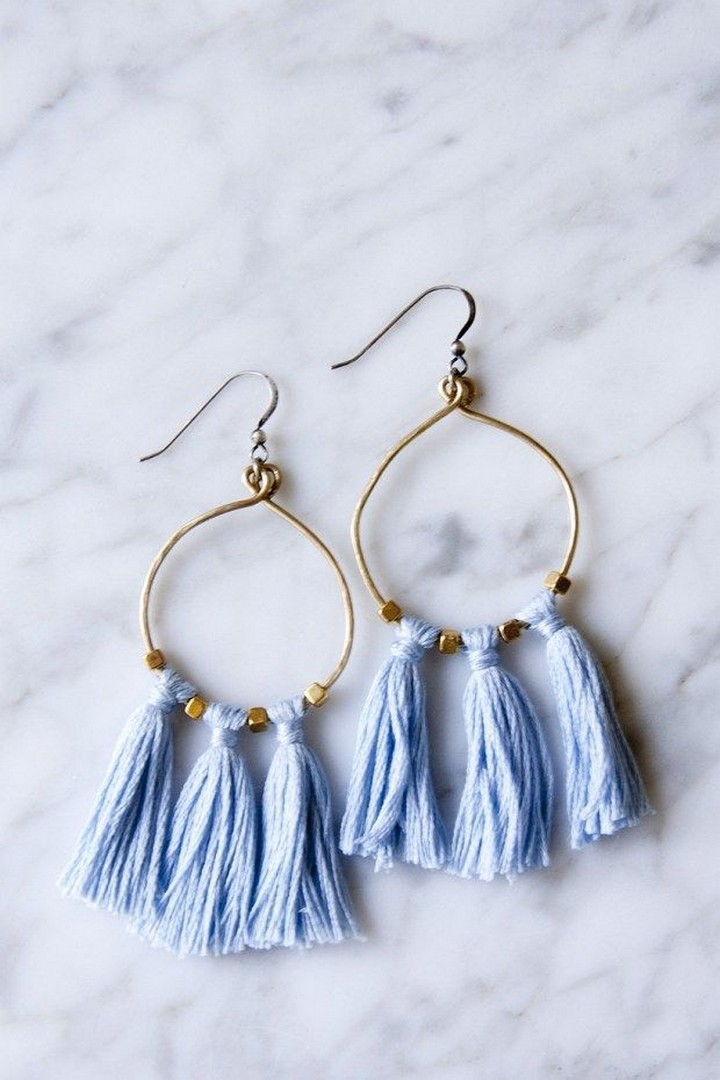How To Make DIY Tassel and Brass Earrings